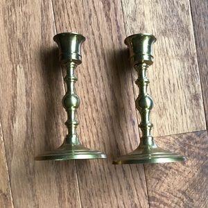 "Set of 5.5"" brass circle base candlestick"